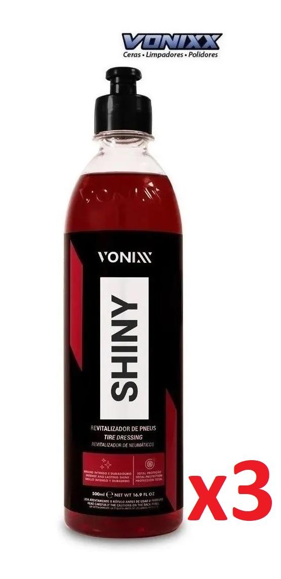 Kit c/ 03un Shiny 500ml Revitalizador Pneus Vonixx Pretinho
