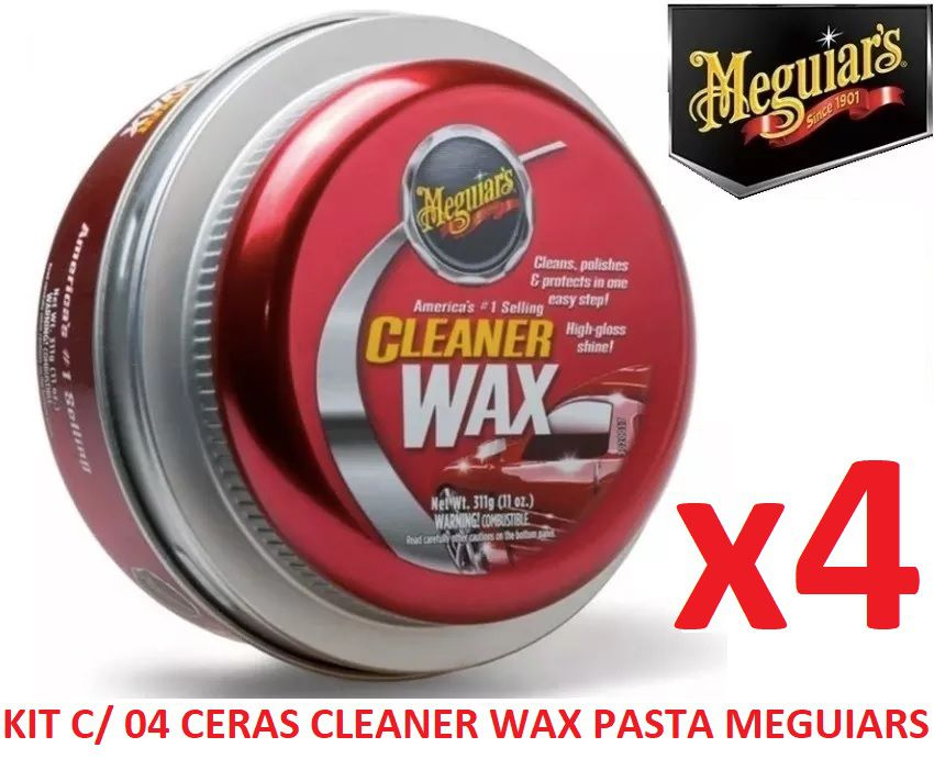 Kit C/ 04 Cera Meguiars Cleaner Wax Pasta Limpadora A1214