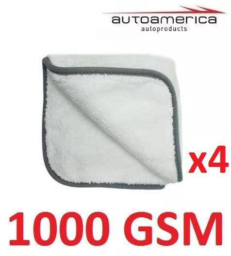 Kit c/ 04 Flanela Toalha Pano Microfibra 1000 Gsm 40x40 Cm Autoamerica