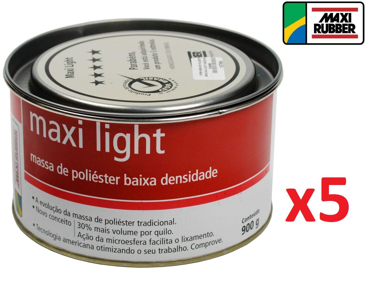 Kit c/ 05 Massa De Poliester Light 900 Grs Maxi Rubber 1mg025