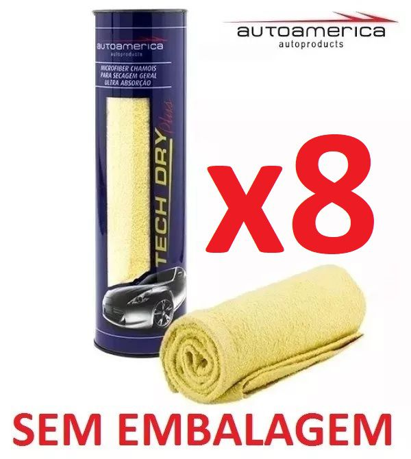 Kit c/ 08 Flanela Secagem Autoamerica Tech Dry Plus (70x40cm) Sem Emb.