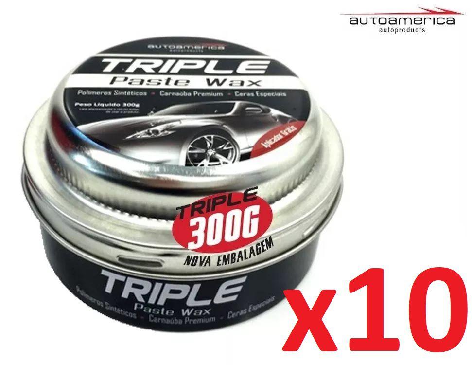 Kit C/ 10 Cera De Carnaúba Triple Paste Wax Autoamerica 300g