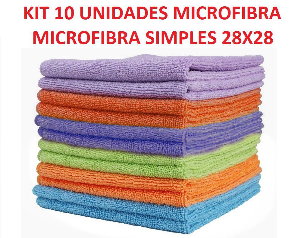 KIT C/ 10 MICROFIBRA SIMPLES USO GERAL / LIMPEZA 28 X 28 CM