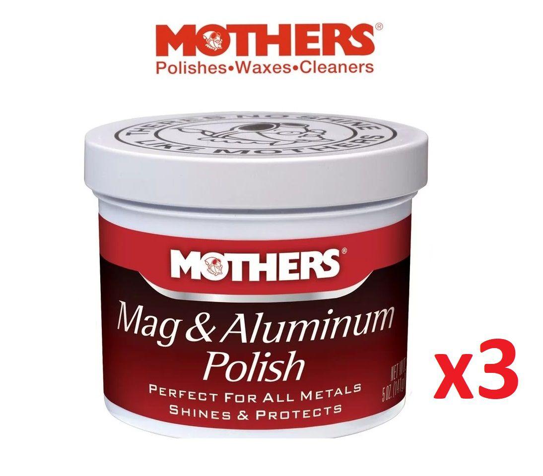 Kit c/ 3 Polidor De Metais Aluminios Mothers Mag Aluminum Polish 141g