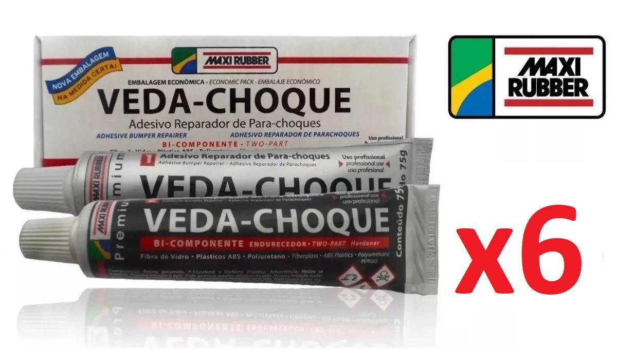 Kit C/ 6 Veda Choque Maxi Rubber Parachoque Solda 150g