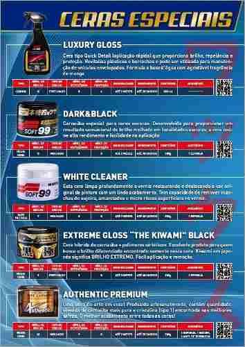 Kit c/ Cera Carnaúba Carros Brancos 350g Soft99 White Wax Cleaner + Cera Fusso Coat Soft99 Light Carros Cores Claras 200g Branca