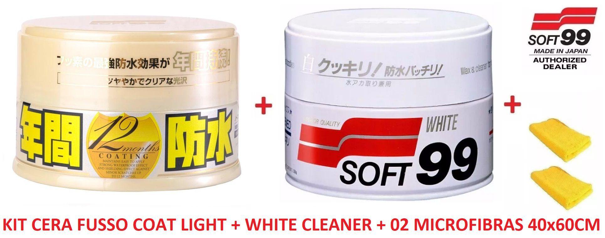 Kit c/ Cera Carnaúba Carros Brancos 350g Soft99 White Wax Cleaner + Cera Fusso Coat Soft99 Light Carros Cores Claras 200g Branca + 02 MICROFIBRAS 40X60
