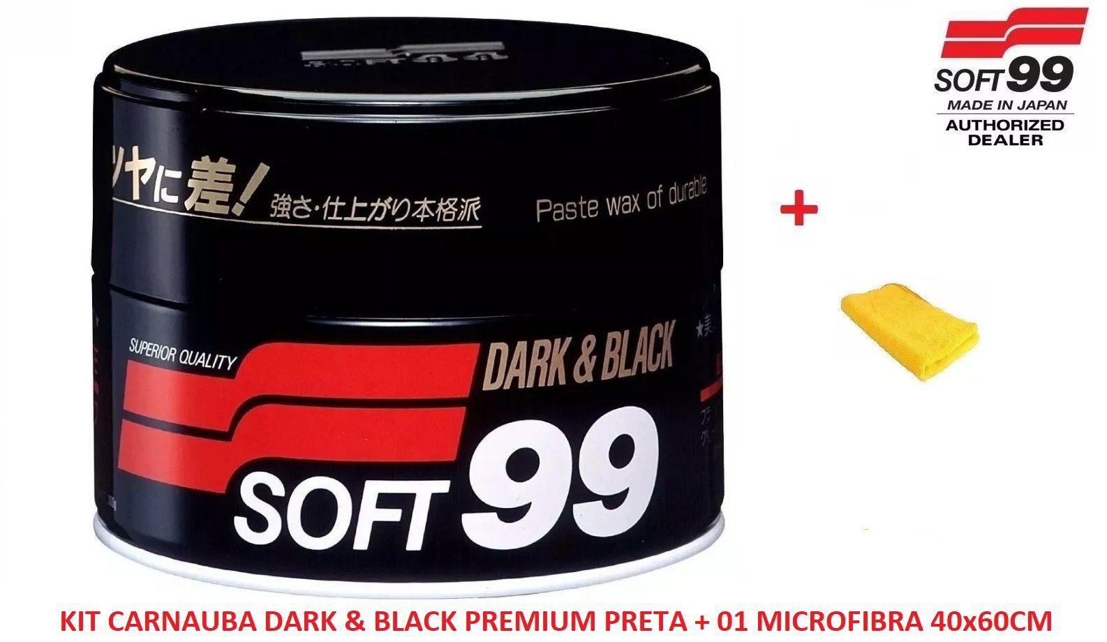 Kit c/ Cera De Carnaúba Premium 300g Soft99 Dark & Black Paste Wax  + 01 Flanela Toalha Microfibra 40 X 60 Cm Autoamerica (sem embalagem / blister)