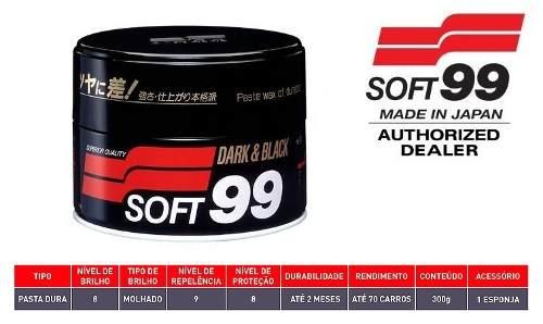Kit c/ Cera De Carnaúba Premium 300g Soft99 Dark & Black Paste Wax  + 05 Flanela Toalha Microfibra 40 X 60 Cm Autoamerica (sem embalagem / blister)