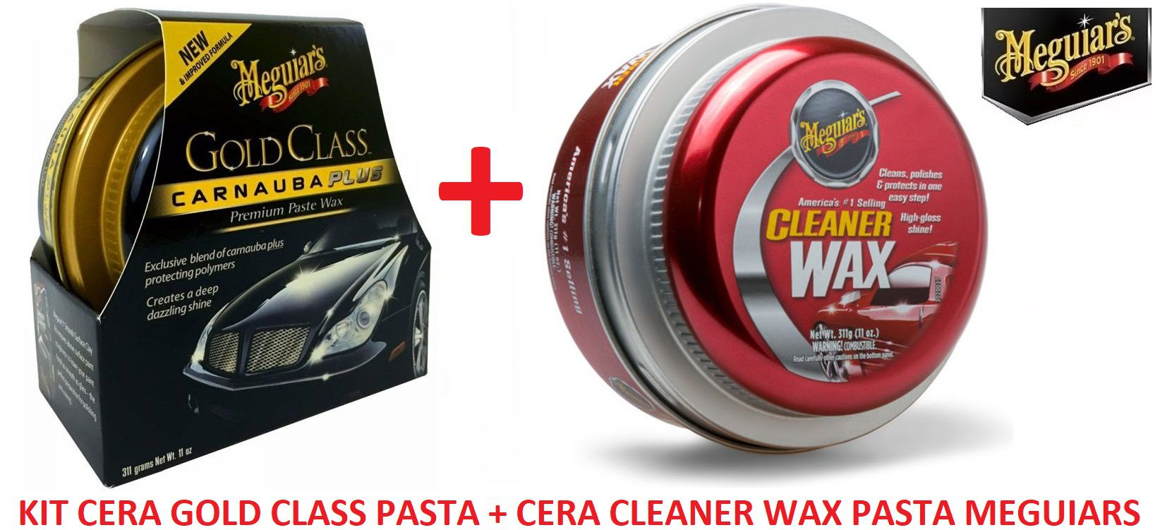 Kit c/ Cera Meguiars Gold Class Pasta Wax G7014  + Cera Meguiars Cleaner Wax Pasta Limpadora A1214 (ref:A1214)