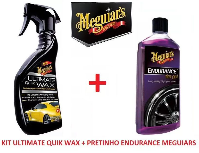 Kit c/ Cera Spray Ultimate Quik Wax Meguiars G17516 450ml + Pneu Pretinho Brilho Endurance Tire Gel Meguiars G7516 473ml