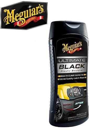 Kit c/ Restaura Renova Plásticos Ultimate Black Meguiars G15812 + Limpador Hidratante Couro Gold Class 400ml Meguiars G17914 + 02 Aplicador de espuma brinde