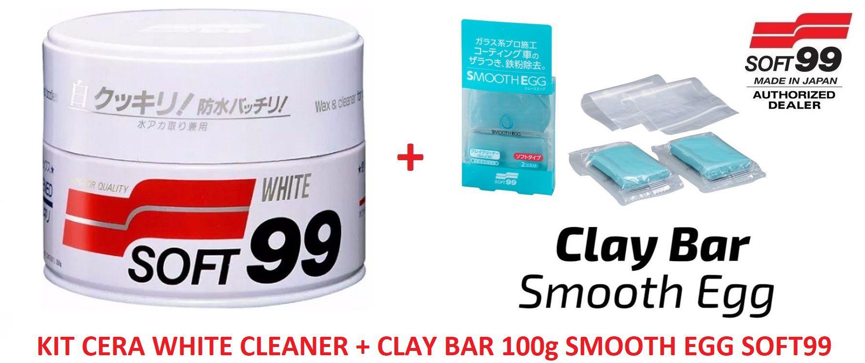 Kit Cera Carnaúba Carros Brancos 350g Soft99 White Wax Cleaner + Smooth Egg Clay Bar Soft99 Com 2 Unidades Soft99 Descontamin  