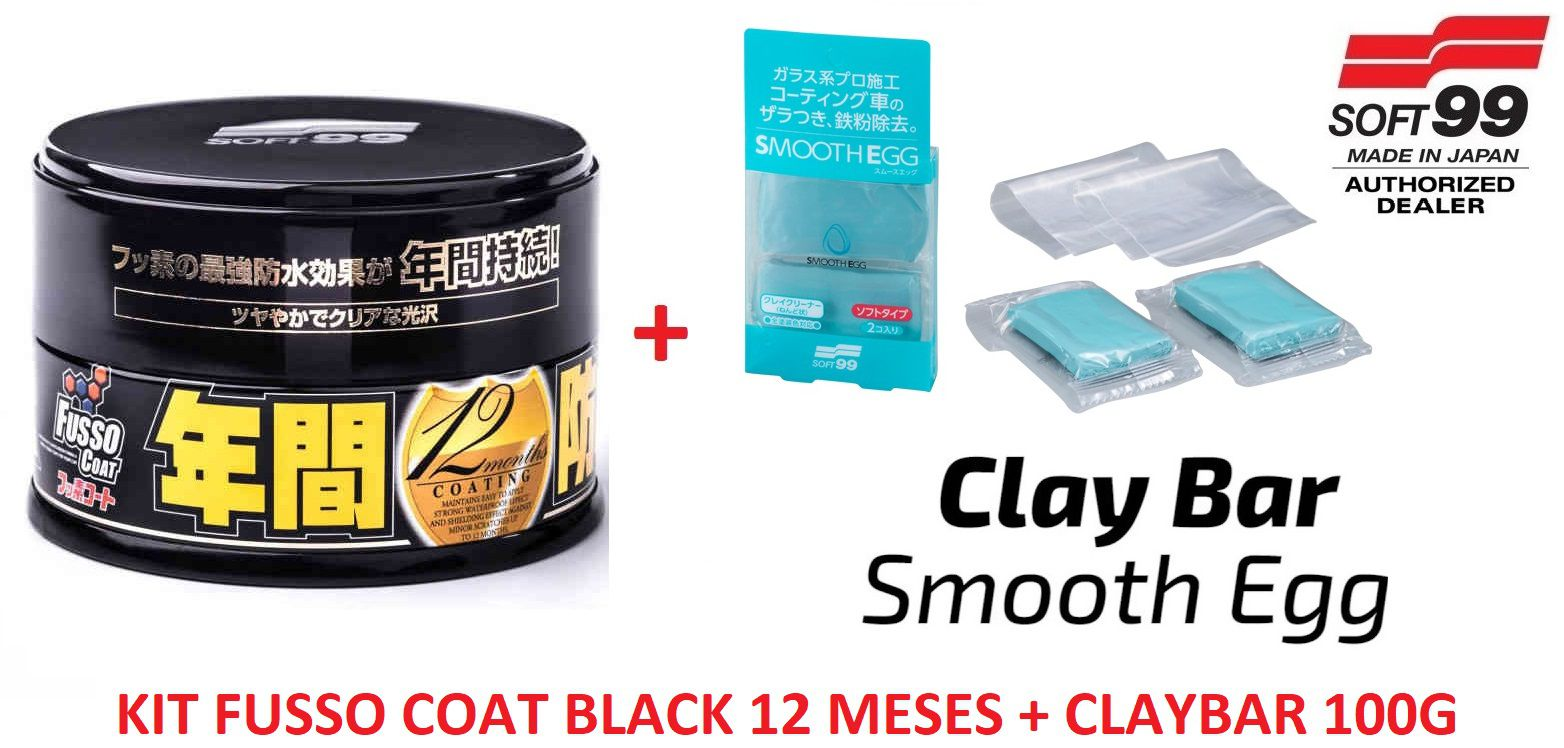 Kit Cera Fusso Coat Black Escuros Preto Dark 1 Ano Soft99 + Smooth Egg Clay Bar Soft99 Com 2 Unidades Soft99 Descontamin  ​