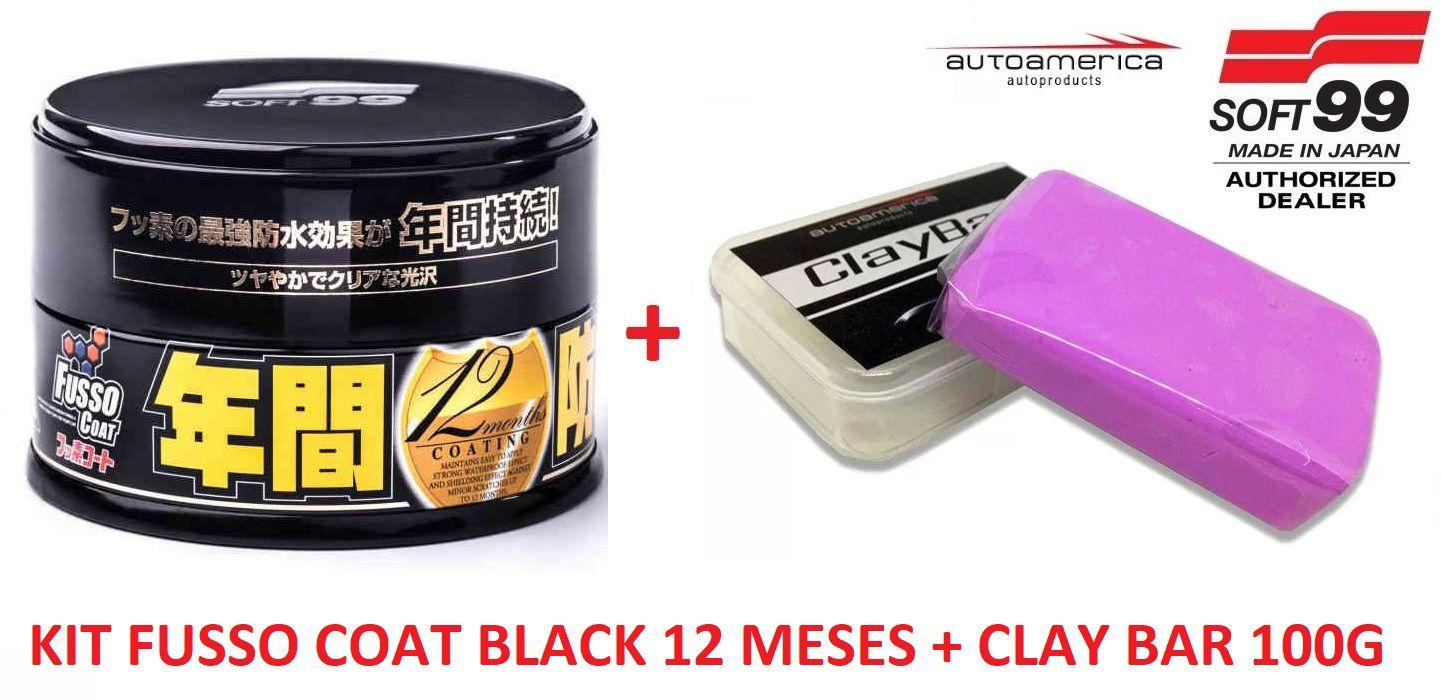 Kit Cera Fusso Coat Black Soft99 + Clay Bar Abras. Media Aut