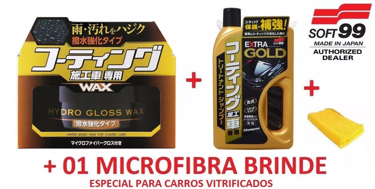 Kit Cera Hydro Gloss + Shampoo Gold Extra para veículos vitrificados Soft99