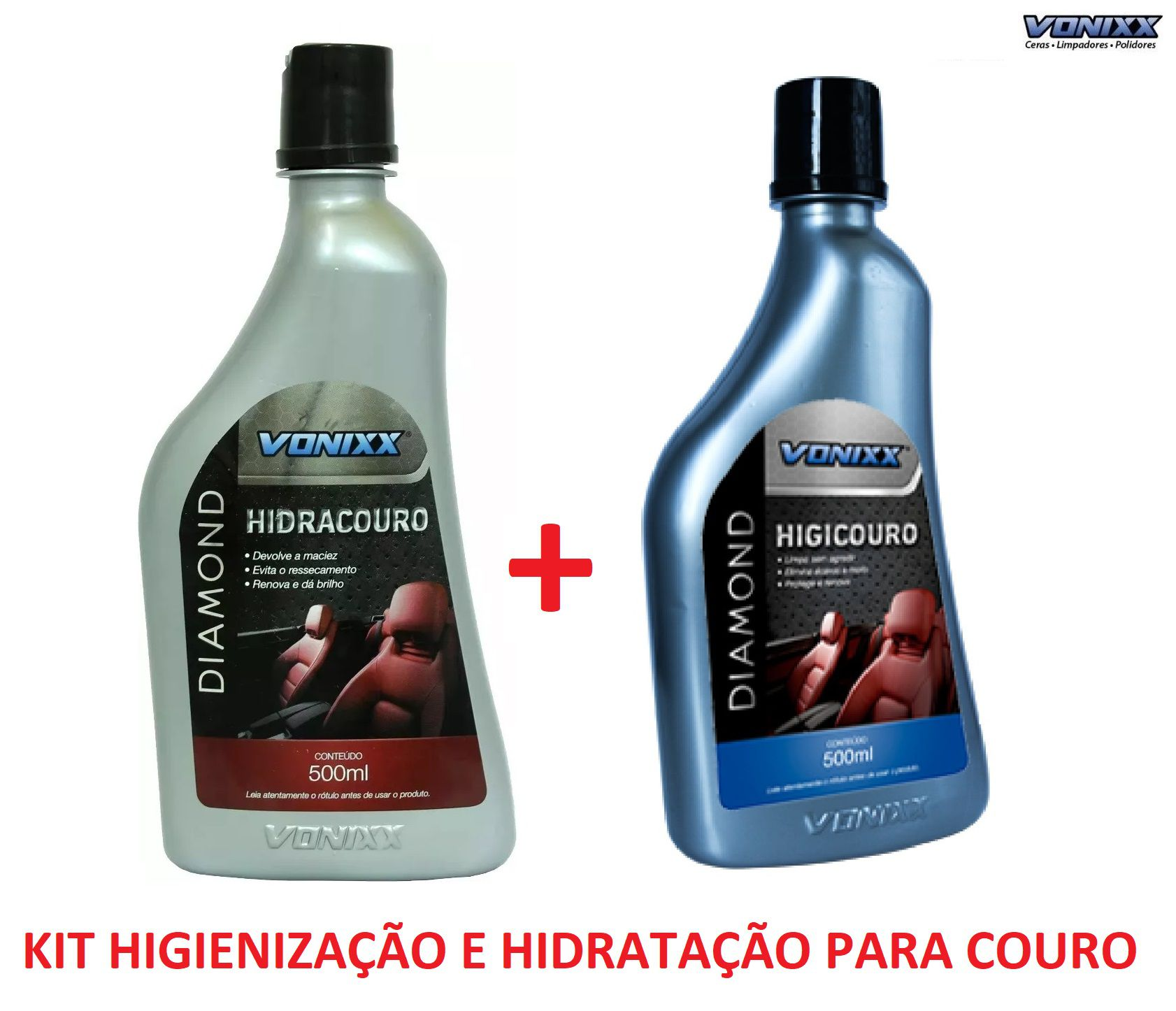 Kit Hidracouro + Higicouro Hidratante Higienizador limpador de couro Limpeza