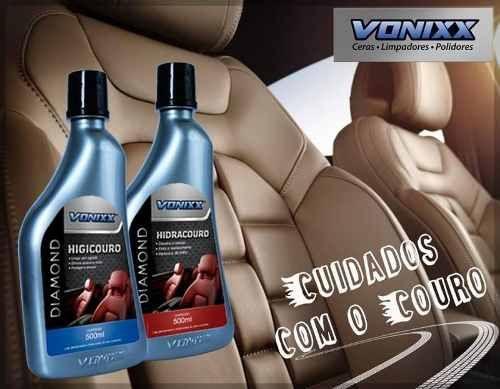 Kit Hidracouro + Higicouro Hidratante Limpar Couro Vonixx + 02 Aplicadores de espuma