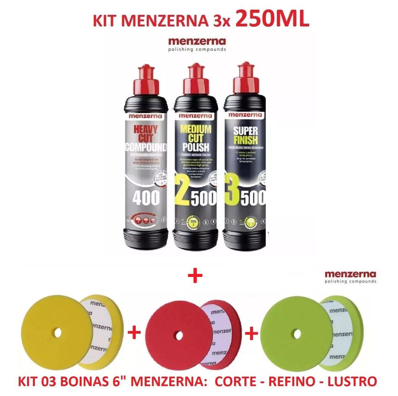 Kit Menzerna C/ Pf2500 Sf3500 Fg400 S Finish Compound 250ml + 03 boinas corte, refino, lustro