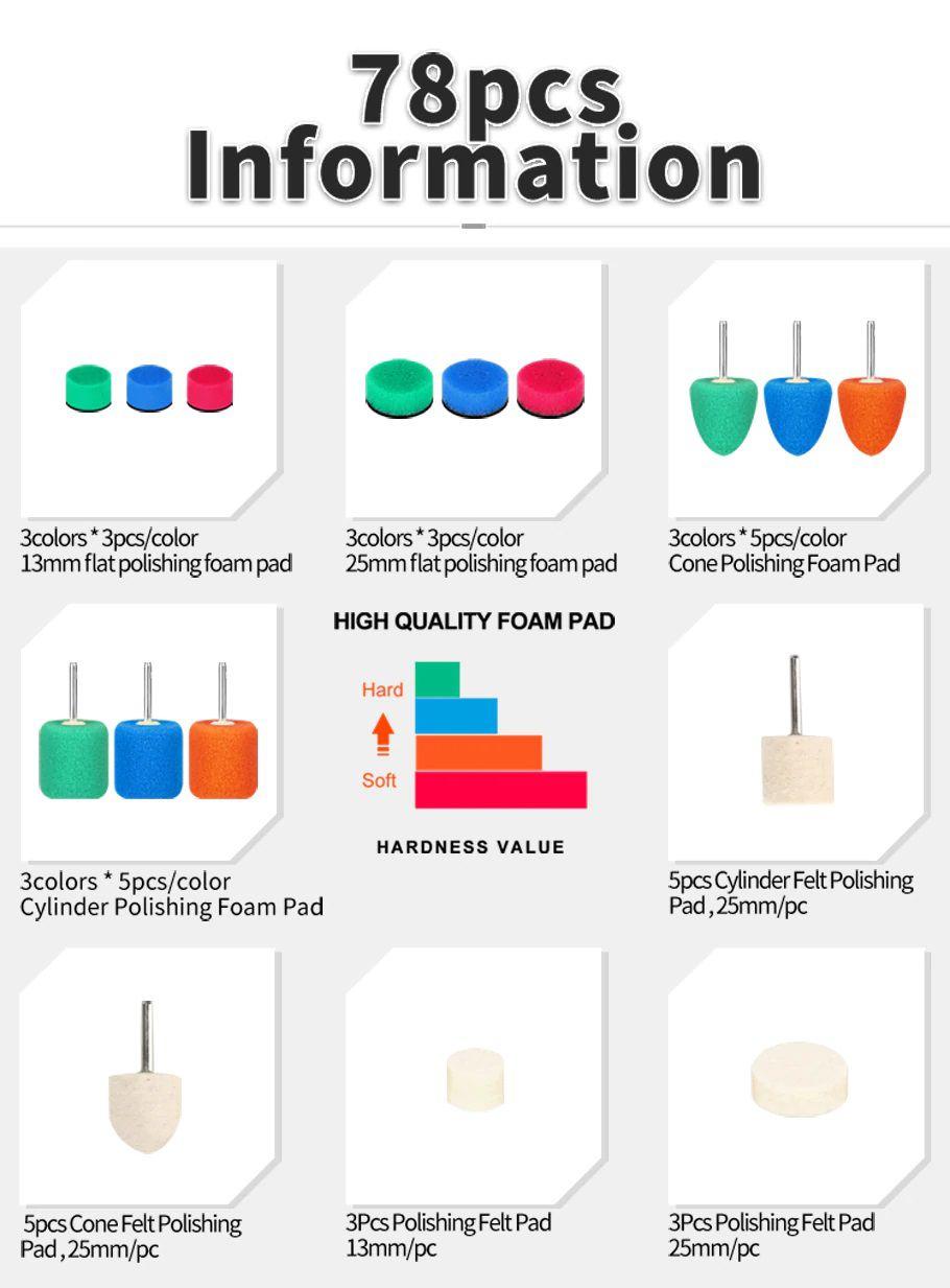Kit mini politriz c/ 78 pcs para Polimento e Detalhamento Flexível