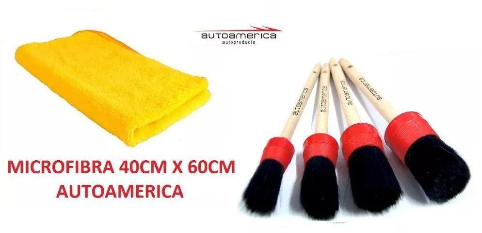 Kit Pincéis Detalhamento +15 Flanelas Microfibra 40x60 Autoamerica