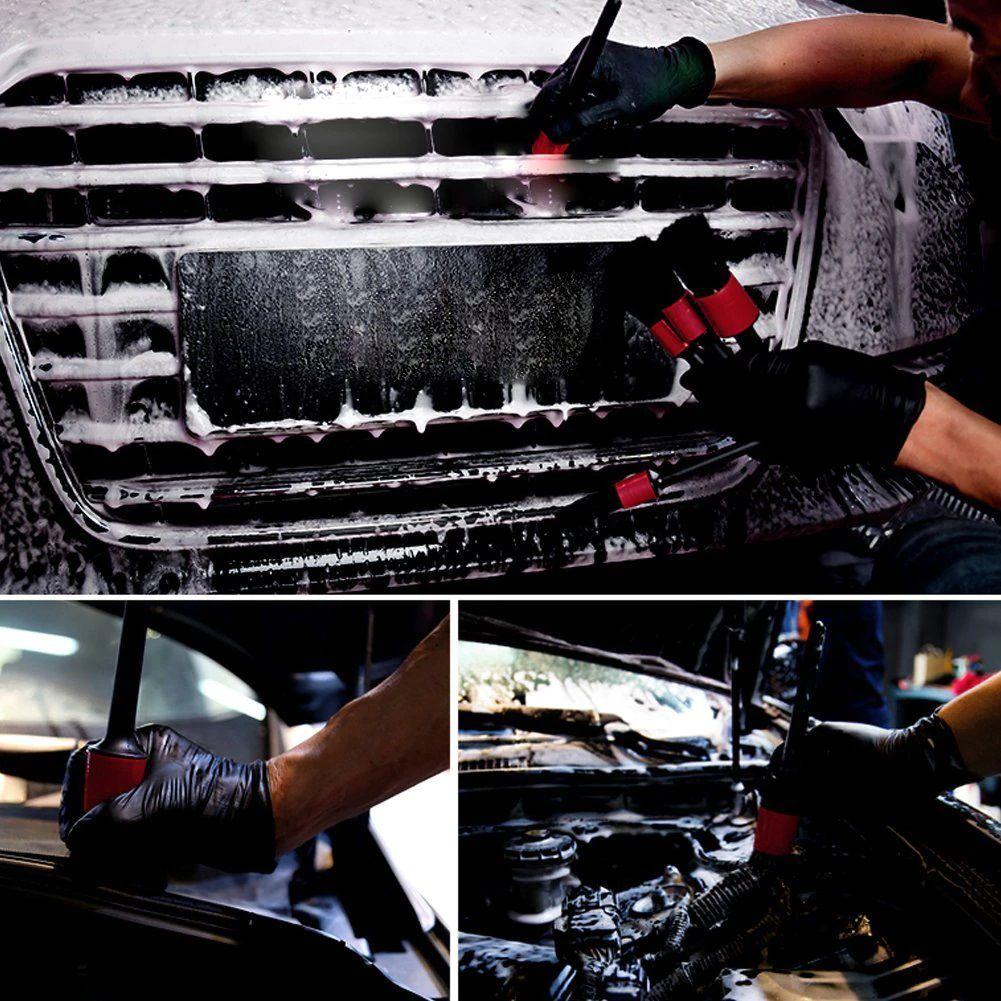 Kit pincéis detalhamento automotivo C/ 05 peças Detailing cabo plástico
