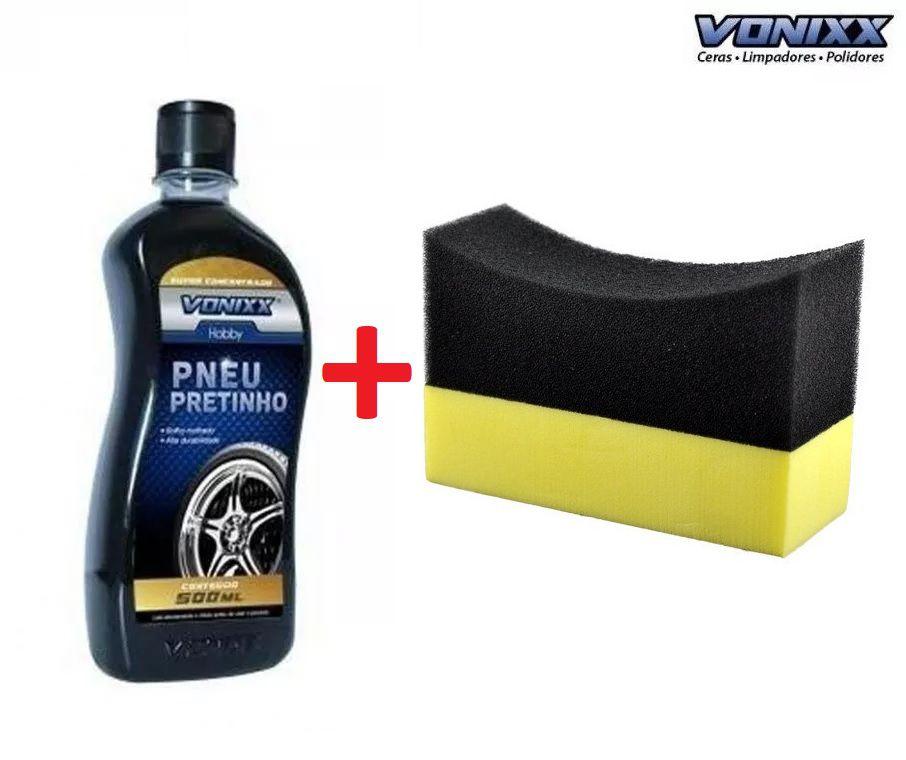 Kit PNEU PRETINHO 500ML Vonixx + Aplicador de espuma para pretinho c/ suporte amarelo e preto