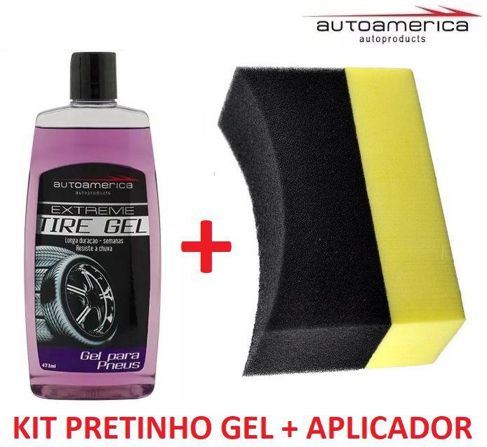 Kit pretinho Extreme Tire Gel Autoamerica + Aplicador de espuma
