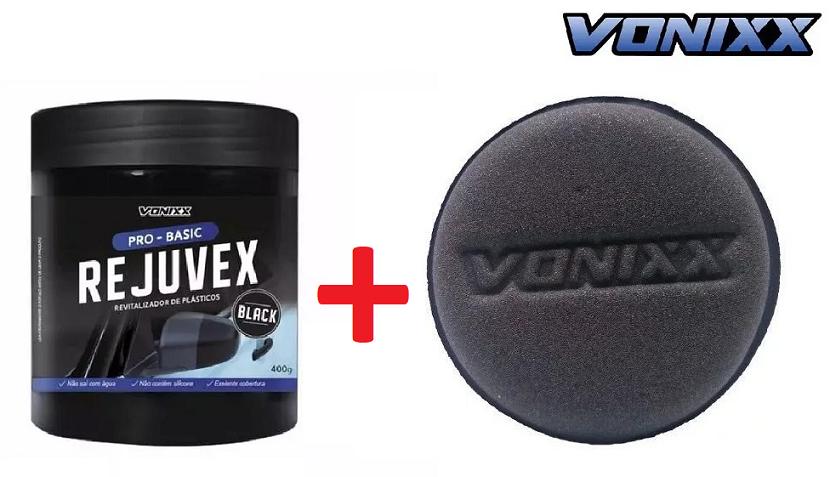 Kit Revitalizador De Plasticos Rejuvex Black 400g Vonixx Restaurador + APLICADOR ESPUMA VONIXX (SEM EMBALAGEM 1 UN)