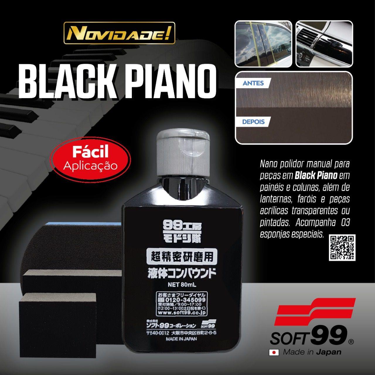 Nano Polidor Manual p/ preto Black Piano E Acrilicos 80ml Soft99