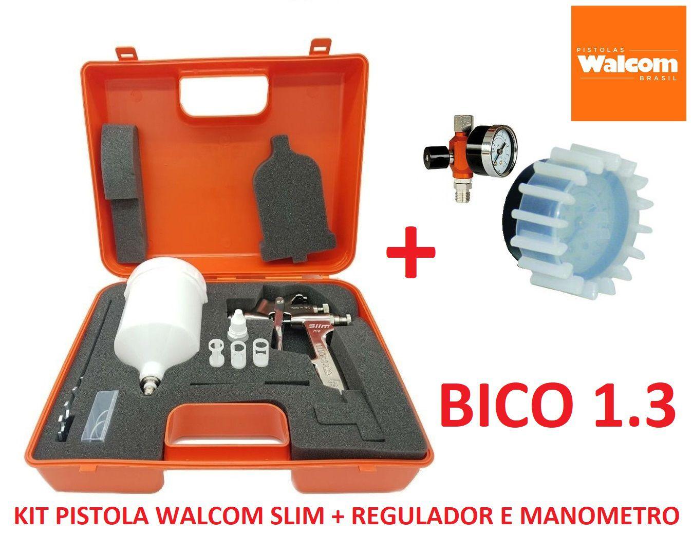 Pistola De Pintura Slim S Hte Walcom Bico 1.3 Gravidade + Regulador de pressão c/ Manômetro