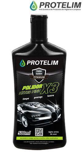 Polidor 3 em 1 Automotivo Extra Fine X3 Protelim  500ml