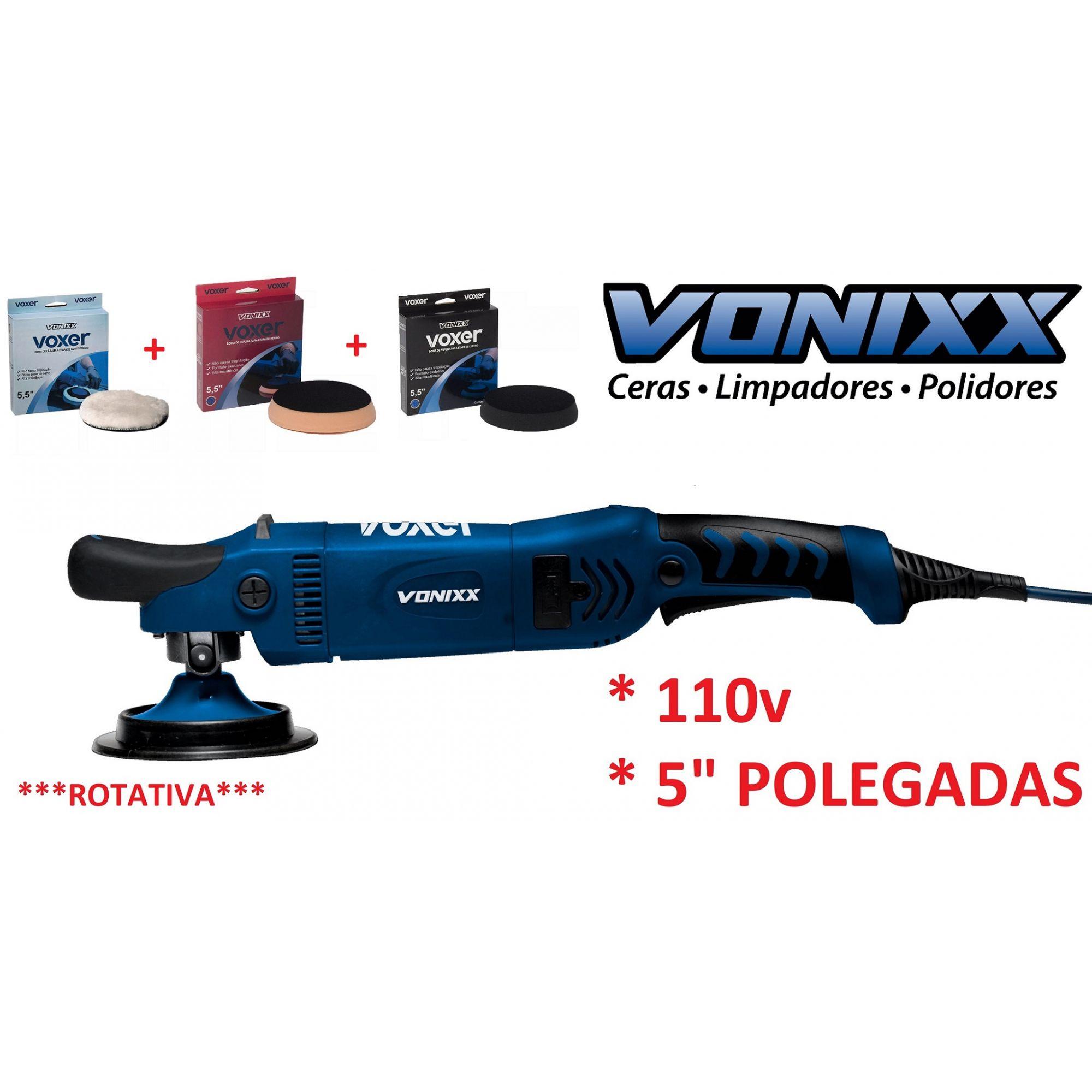 "Politriz Rotativa D. Red. 150mm 5"" 110v Voxer Vonixx + Kit boinas corte refino lustro"