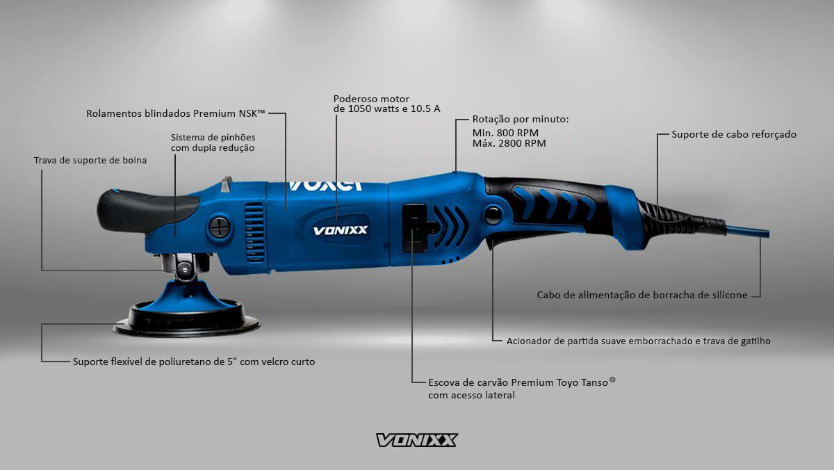 """Politriz Rotativa Dupla Redução 125mm 5"""" 110v Voxer Vonixx"""