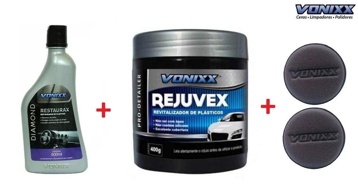 Restaurax 500ml Diamond + Rejuvex 400g Vonixx + 2 Aplicadores