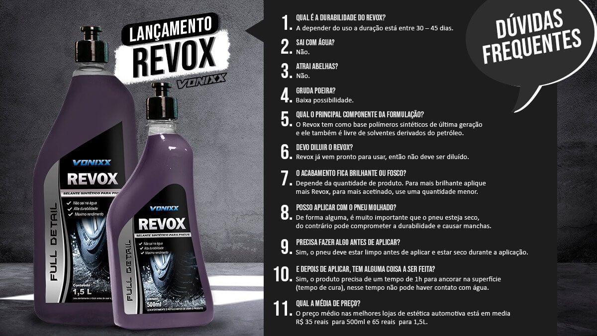 Revox Selante Renovador Pneu Pretinho Vonixx 1,5L Resistente à água + aplicador de pretinho