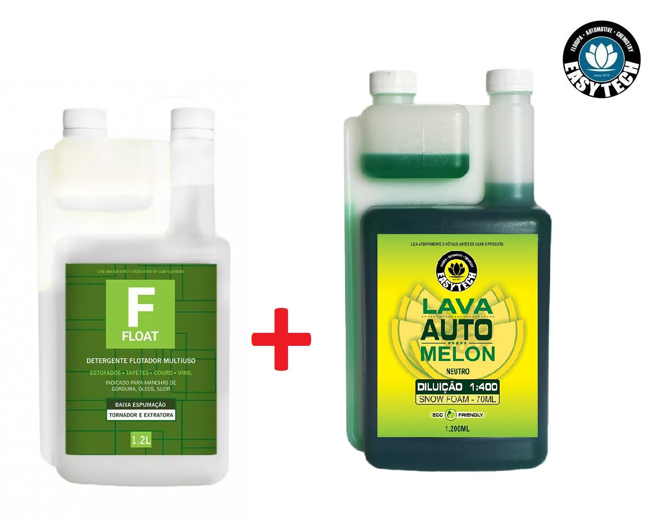 Shampoo 1:400 Melon Concentrado 1,2l Neutro Easytech Ph + Limpador Multiuso Float 1200ml Com Dosador Easytech