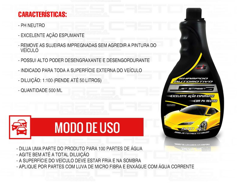 Shampoo Automotivo Ph Neutro 500ml 1:100 Jet Street