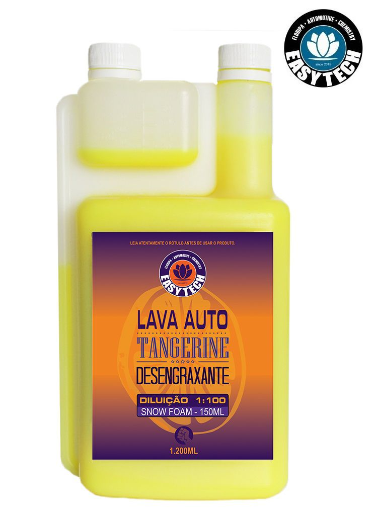 Shampoo Desengraxante 1:100 Tangerine Concentr 1,2l Easytech + Shampoo 1:400 Melon Concentrado 1,2l Neutro Easytech Ph