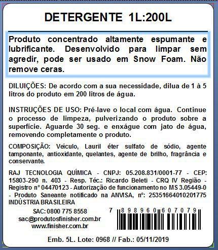 Shampoo Neutro Ultra Espumante Finisher Galão 5L DETERGENTE