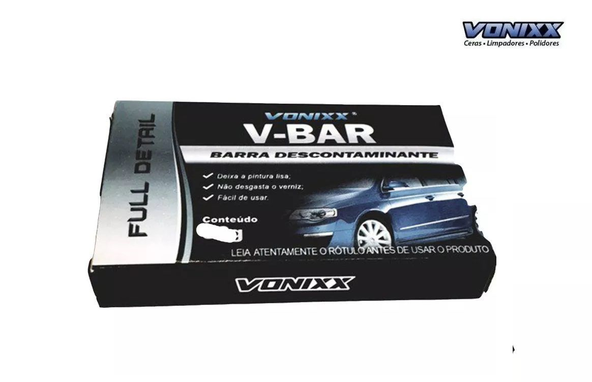 V-bar 100g Vonixx Clay Bar Descontaminante Superficie + V Lub 500 ml