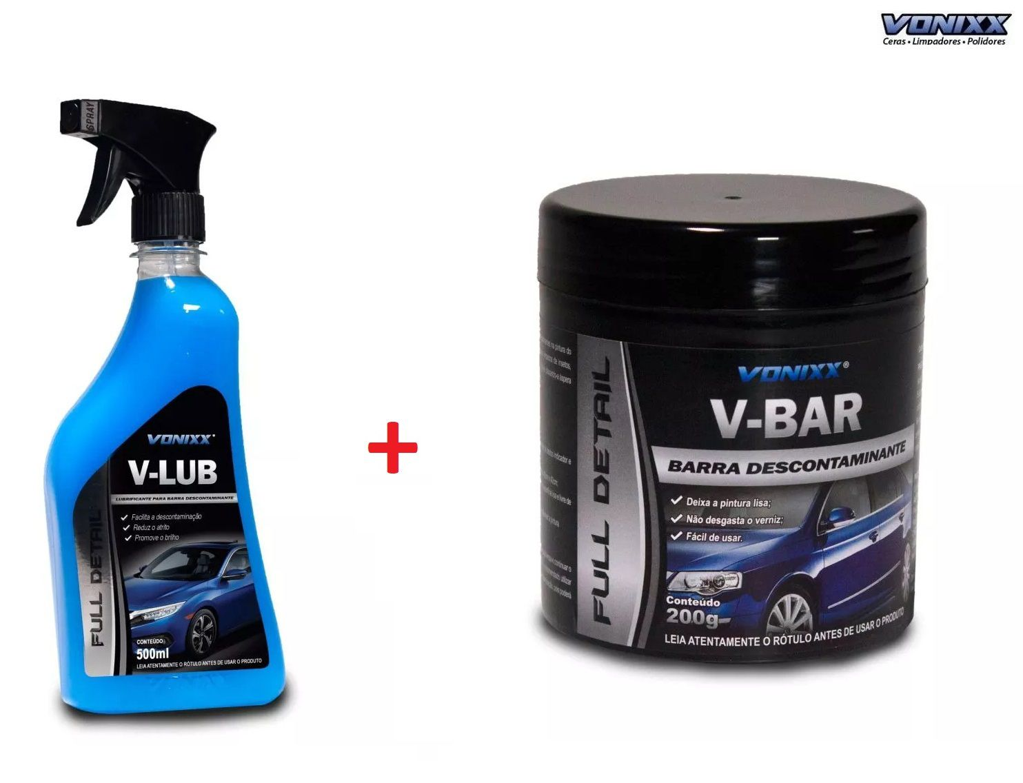 V-bar 200g Vonixx Clay Bar Descontaminante Superficie + V Lub 500 ml