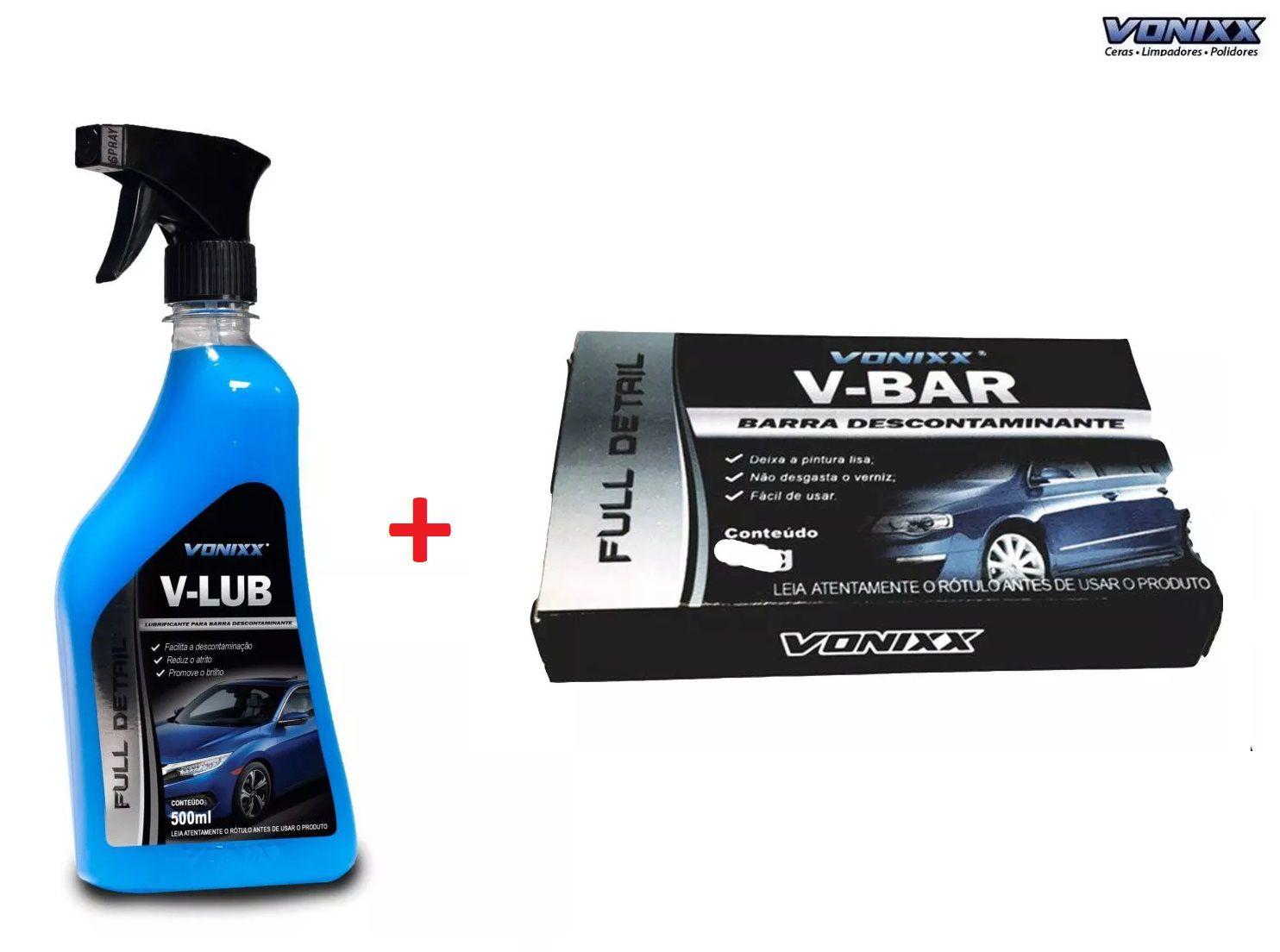 V-bar 50g Vonixx Clay Bar Descontaminante Superficie + V Lub 500 ml