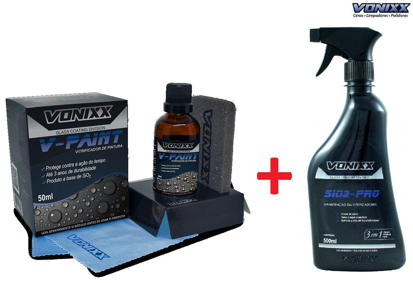 V-paint Vitrificador 50ml Vonixx + Sio2-PRO Manutenção 500ml