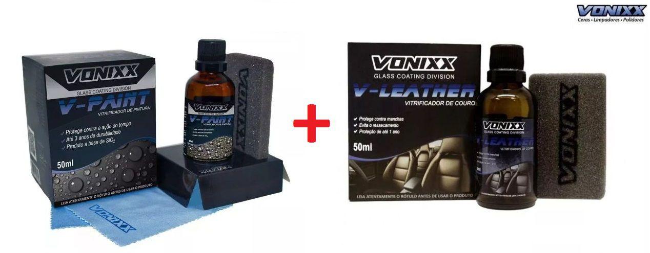 V-paint Vitrificador Pintura 50ml Vonixx V 3 Anos Proteção + Vitrificador De Bancos Couro V-leather 50 Ml Vonixx