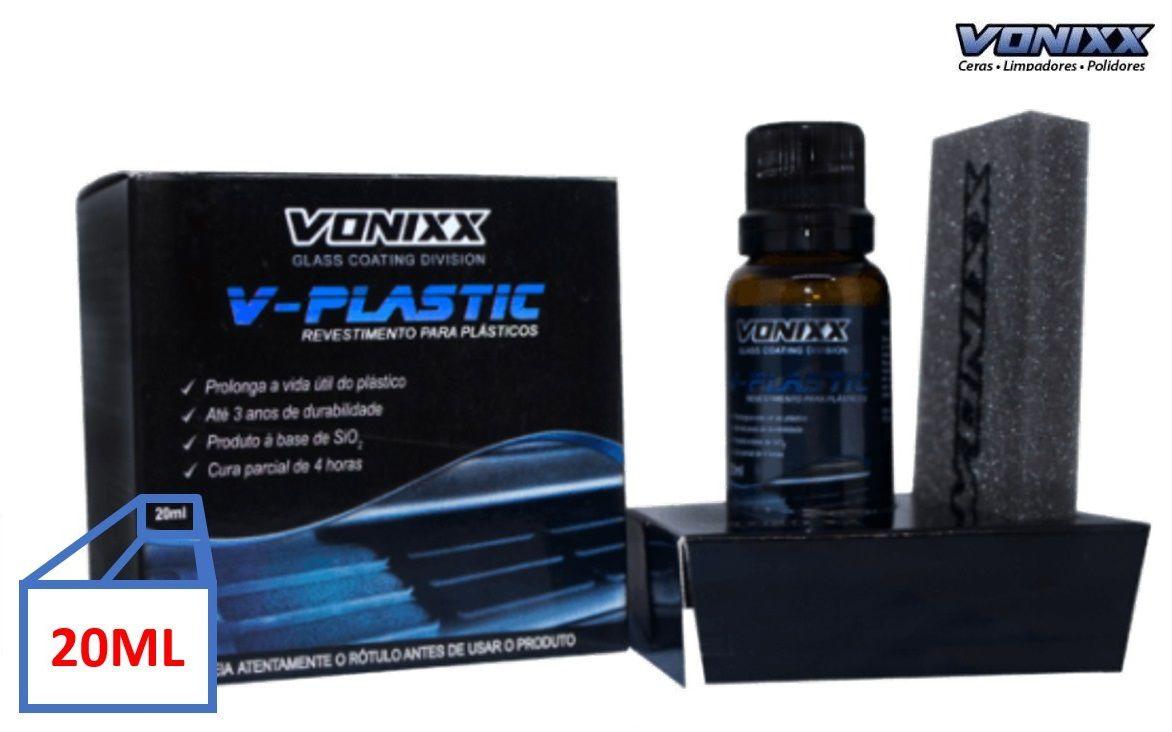 V-PLASTIC 20ml vitrificador p/ plásticos + Limpador multiação APC 500ML + Revelax Vonixx