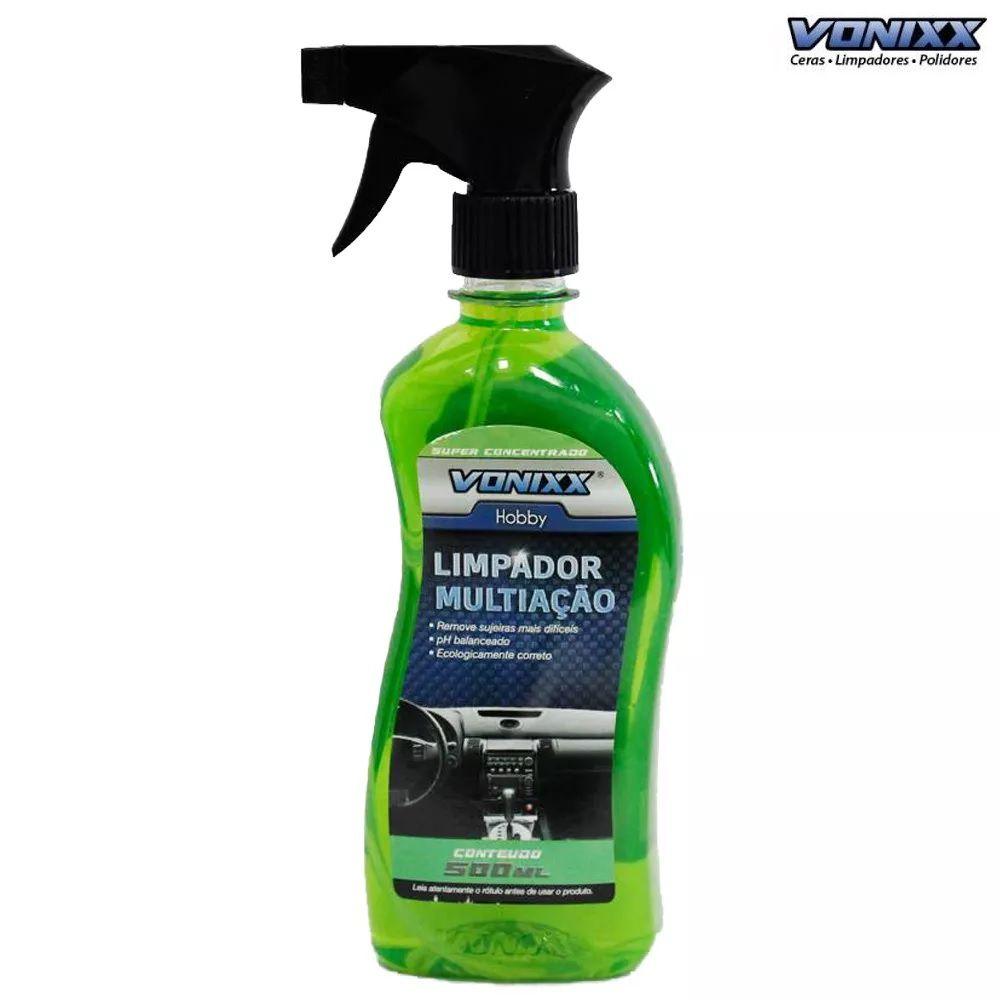 V-PLASTIC 20ml vitrificador p/ plásticos + LIMPADOR MULTIACAO APC 500ML VONIXX + Microfibra