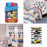 Coberdrom + Jogo Cama+ Cortina+ Toalha Mickey Play Disney