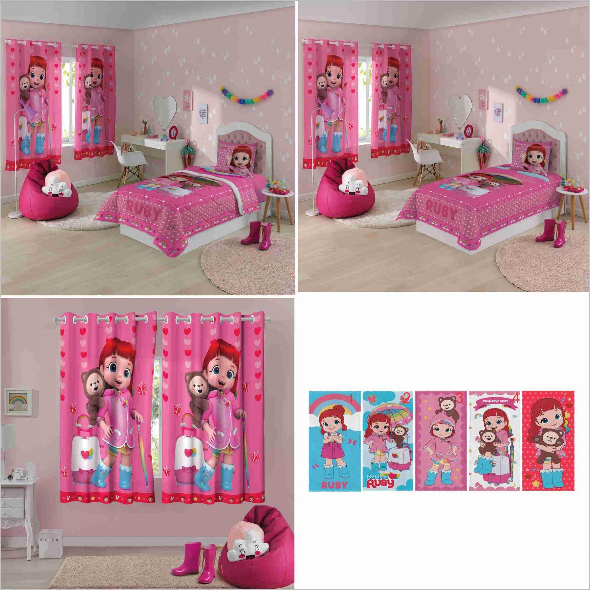 a34746e7ba Edredom+ Jogo Cama 2pçs+ Cortina+ Toalha Rainbow Ruby Lepper -  PEQUENININHOS.COM