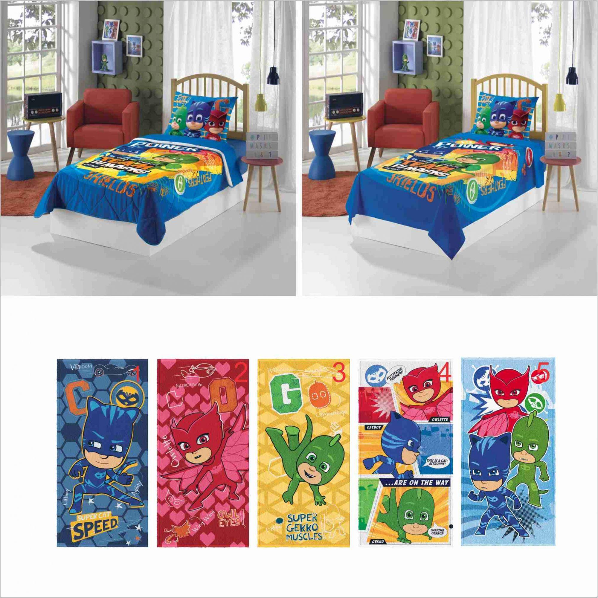 93d3c974f1 Edredom+ Jogo Cama Lençol 3 Pçs+ Toalha PJ Masks Lepper - PEQUENININHOS.COM